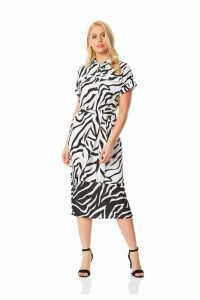 Animal Print Belted Shirt Midi Dress