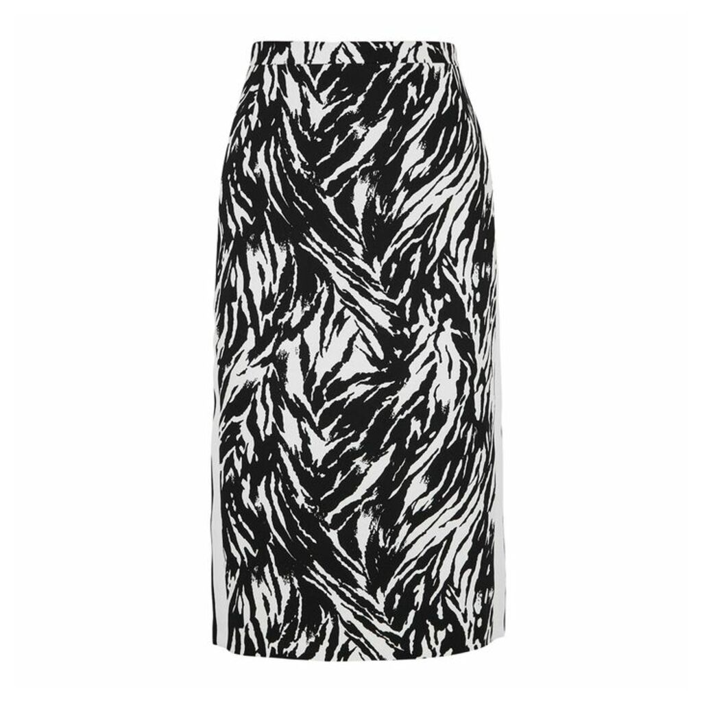 No.21 Zebra-print Cotton Pencil Skirt
