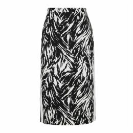 No.21 Zebra-print Cotton Pencil Skirt