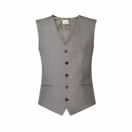 Burberry Satin Panel Wool Tailored Waistcoat