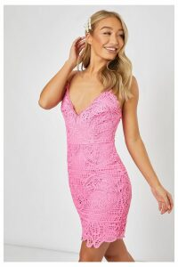 Pink Dresses - Donatta Pink Crochet Lace Cami Dress