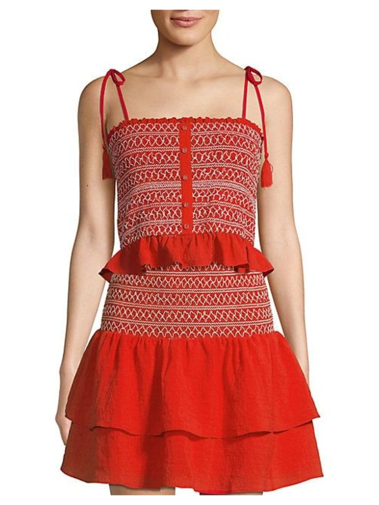 Ruffled Smock Cropped Top