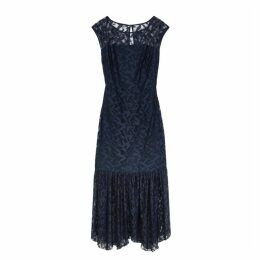 HUGO Kalili Navy Lace Midi Dress
