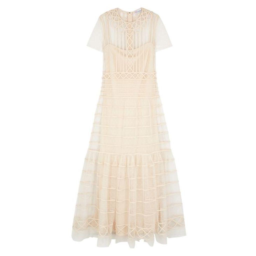 RED Valentino Cream Point D'esprit Maxi Dress
