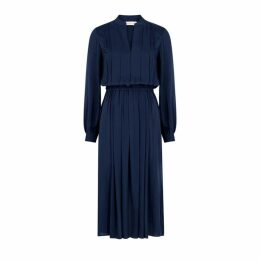 Tory Burch Navy Pleated Georgette Dress