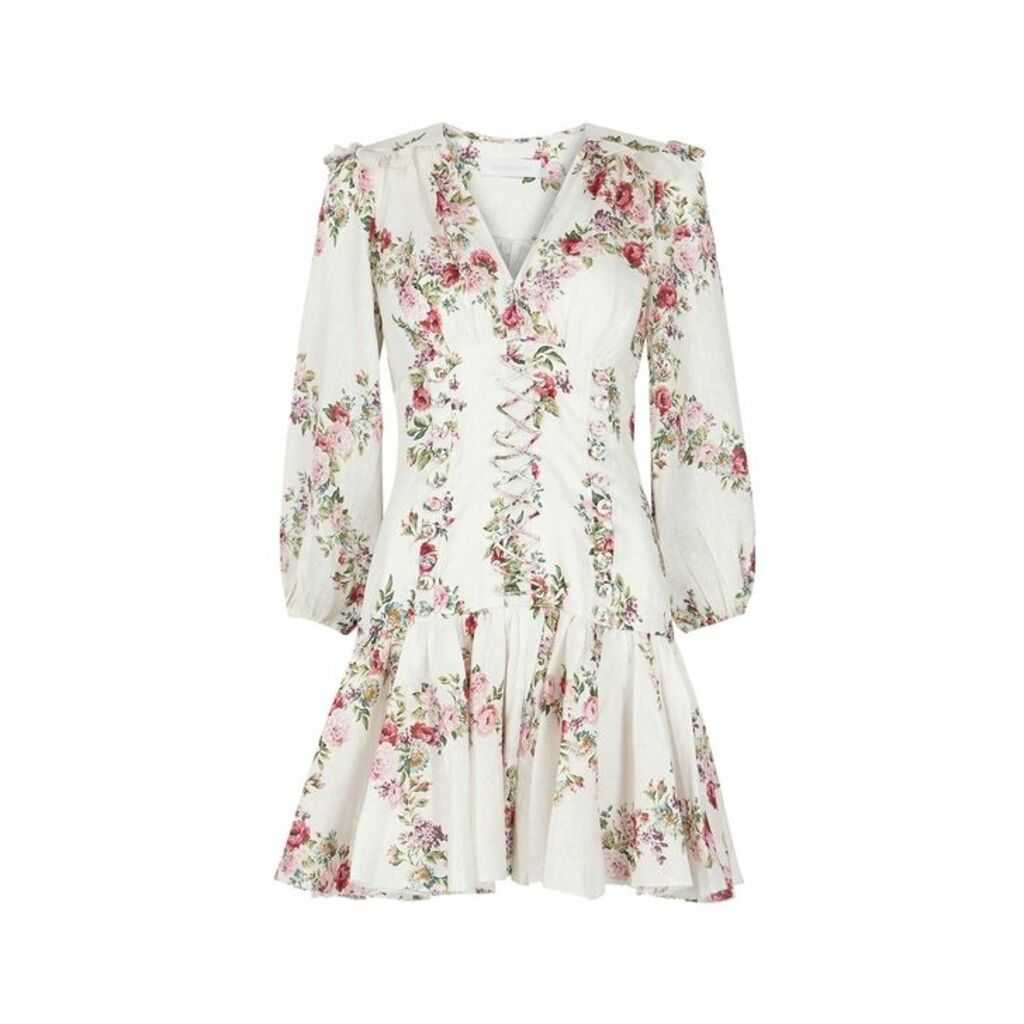 Zimmermann Honour Corset Floral-print Linen Dress