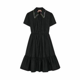 No.21 Black Embellished Cotton Midi Dress