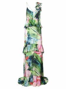 Josie Natori Sunset Palms tiered dress - Multicolour