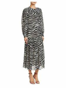 Jina Long-Sleeve Zebra Midi Dress