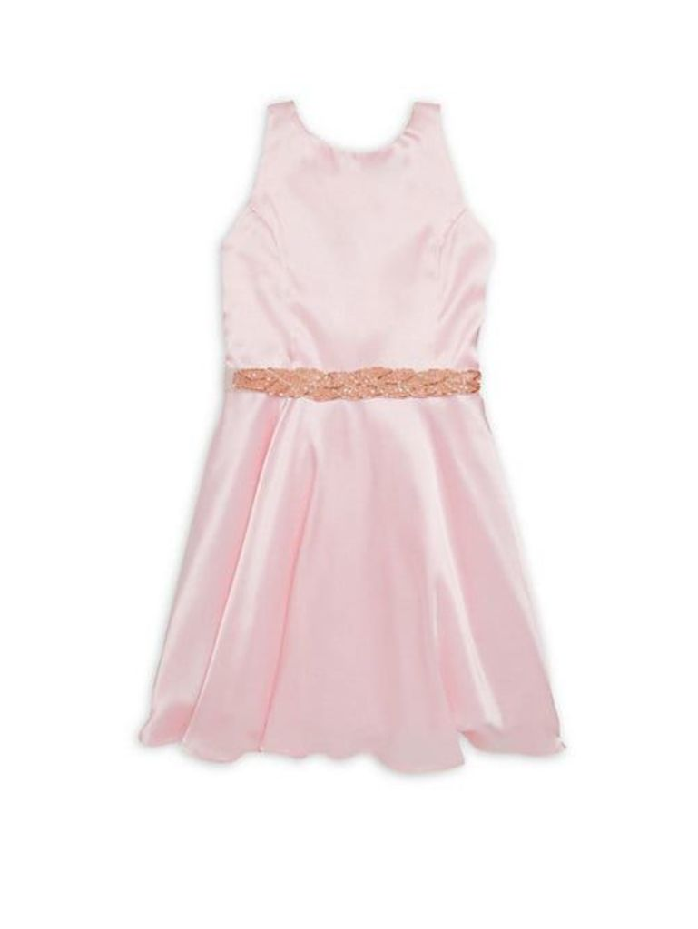 Girl's Charmeuse Fit-&-Flare Dress