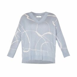 PAISIE - V-Neck Top With Marble Print & Dip Hem In Light Blue & Light Grey