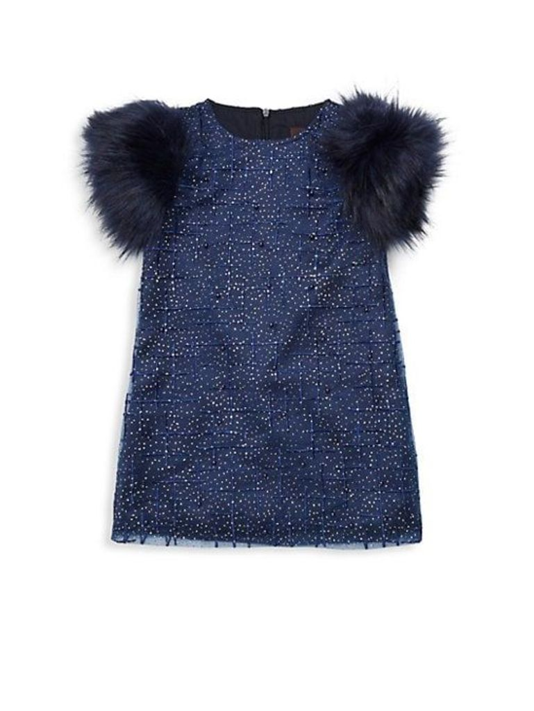 Little Girl's & Girl's Sage Faux-Fur Sleeve Party Dress