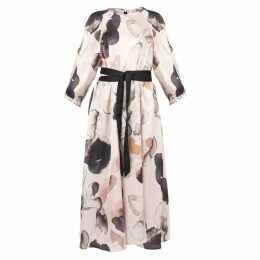 MUZA - Loose Fit Floral Print Belted Dress