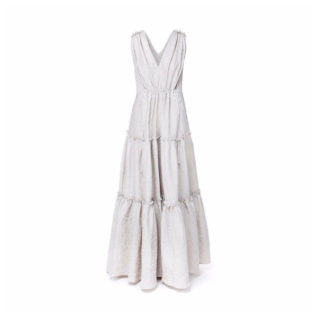DIANA ARNO - Catherine Oversized Maxi Dress In Dust Green Stripe