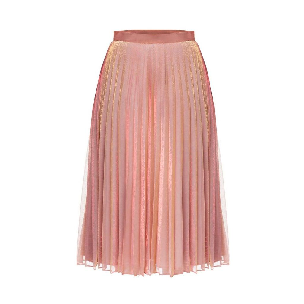 DIANA ARNO - Lola Pleated Midi Skirt In Pink Chameleon