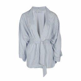 DIANA ARNO - Hanna Asymmetric Top In Blue Stripe