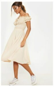 Cream Floaty Midi Skirt, White
