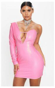 Pink Faux Leather Asymmetric Bodycon Dress, Pink