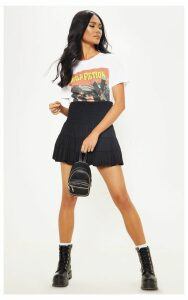 Shirred Black Waistband Tiered Mini Skirt, Black