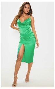 Bright Green Strappy Satin Cowl Midi Dress, Bright Green