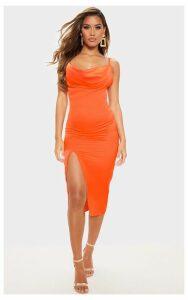 Bright Orange Strappy Satin Cowl Midi Dress, Bright Orange