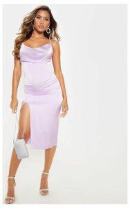 Lilac Strappy Satin Cowl Midi Dress, Purple