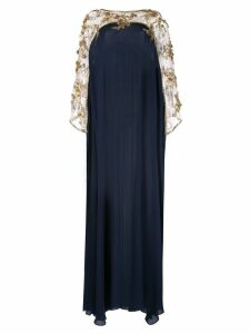 Marchesa embroidered floral draped gown - Blue