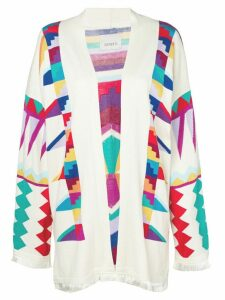 Laneus Aztec patterned cardigan - White