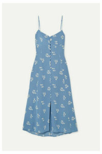 Reformation - Cybill Floral-print Georgette Midi Dress - Blue