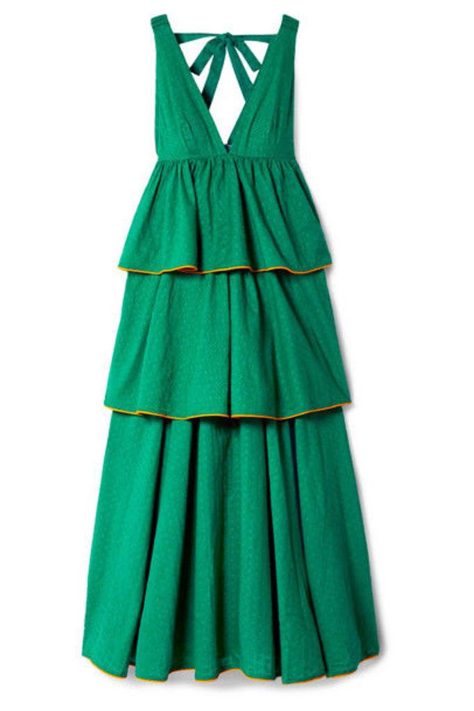 Rhode - Leela Tiered Fil Coupé Cotton Maxi Dress - Jade