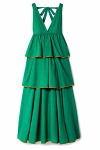 Rhode - Leela Tiered Fil Coupé Cotton Maxi Dress - Jade