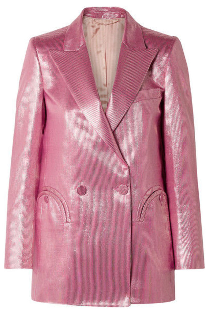 Blazé Milano - + Georgina Brandolini D'adda Diva Royal Everyday Striped Lamé Blazer - Pink