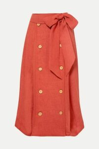 Lisa Marie Fernandez - Diana Linen-blend Midi Skirt - Bright orange