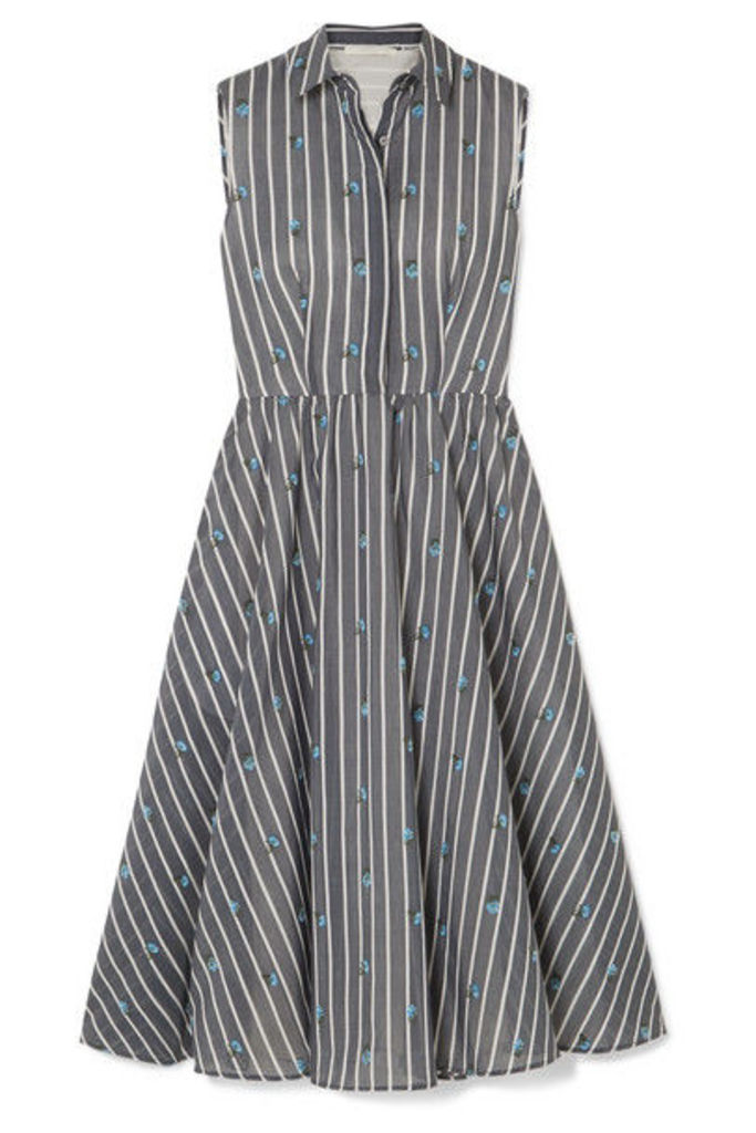 Jason Wu Collection - Embroidered Striped Cotton And Silk-blend Midi Dress - Gray