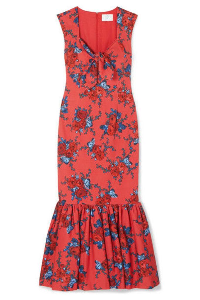 Rebecca de Ravenel - Tie-detailed Floral-print Cotton-blend Maxi Dress - Red