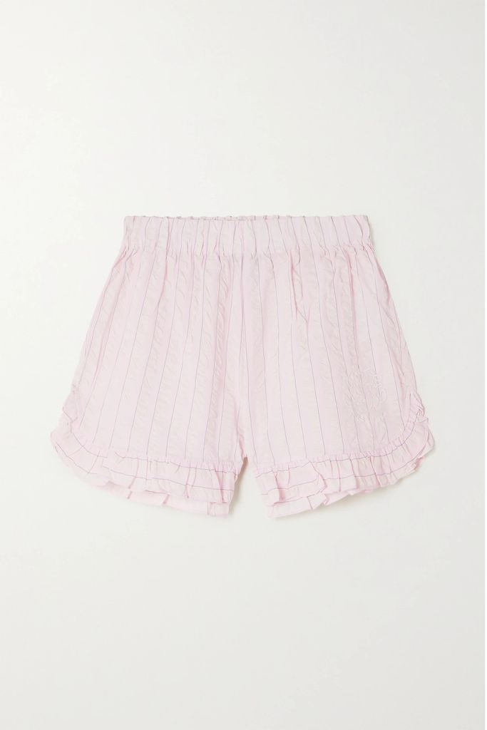 Rebecca de Ravenel - Long Field Belted Printed Silk Crepe De Chine Maxi Dress - Blue