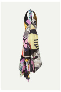 Marques' Almeida - Printed Halterneck Satin Dress - Gray