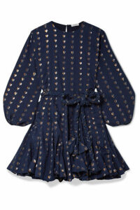 Rhode - Ella Fil Coupé Cotton And Lurex-blend Mini Dress - Navy