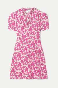 HVN - Paula Printed Silk Crepe De Chine Mini Dress - Pink