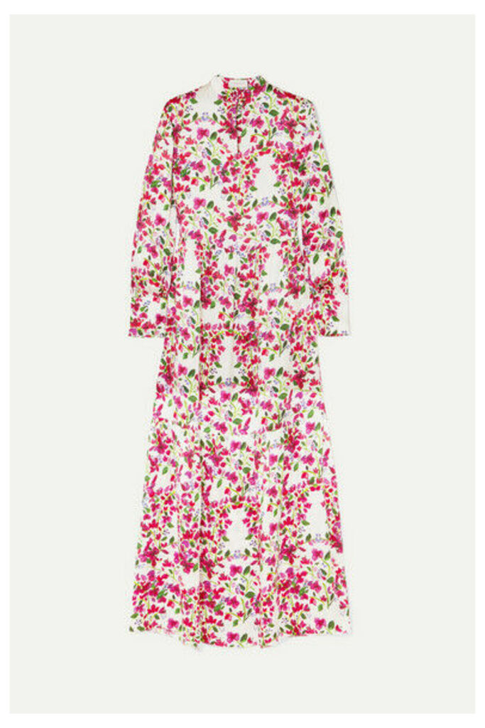 Seren - Bunny Floral Silk-satin Dress - Fuchsia