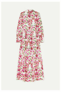 Seren - Bunny Floral Silk-satin Dress - Fuchsia