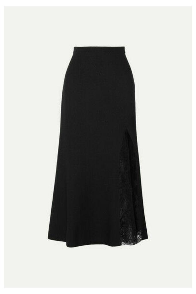 Givenchy - Lace-paneled Crepe Midi Skirt - Black