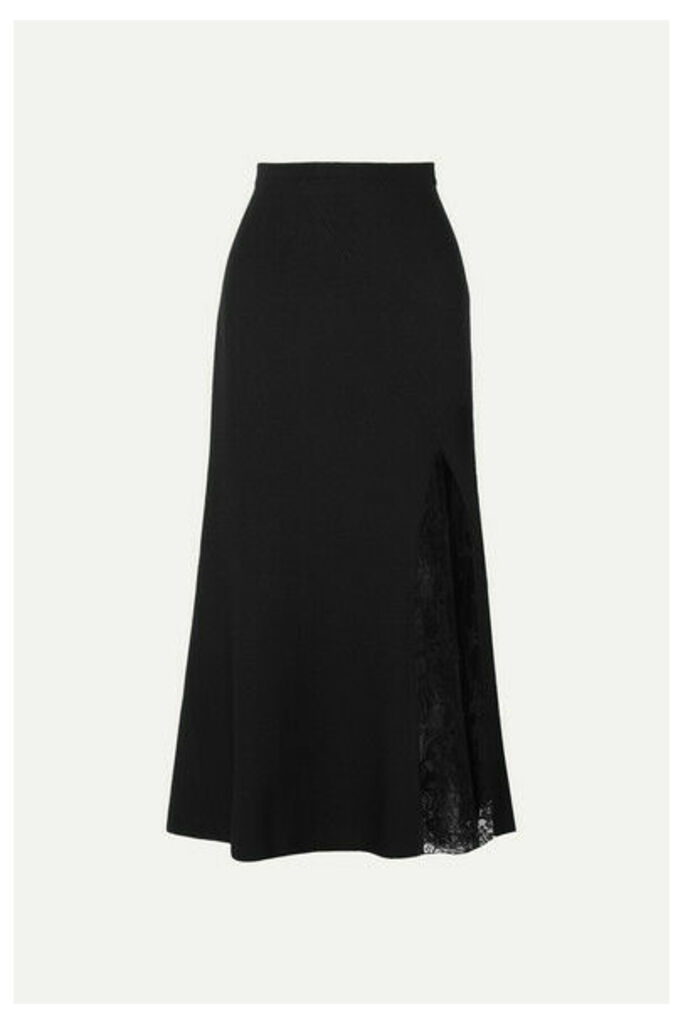 Givenchy - Lace-paneled Crepe Midi Skirt - Black
