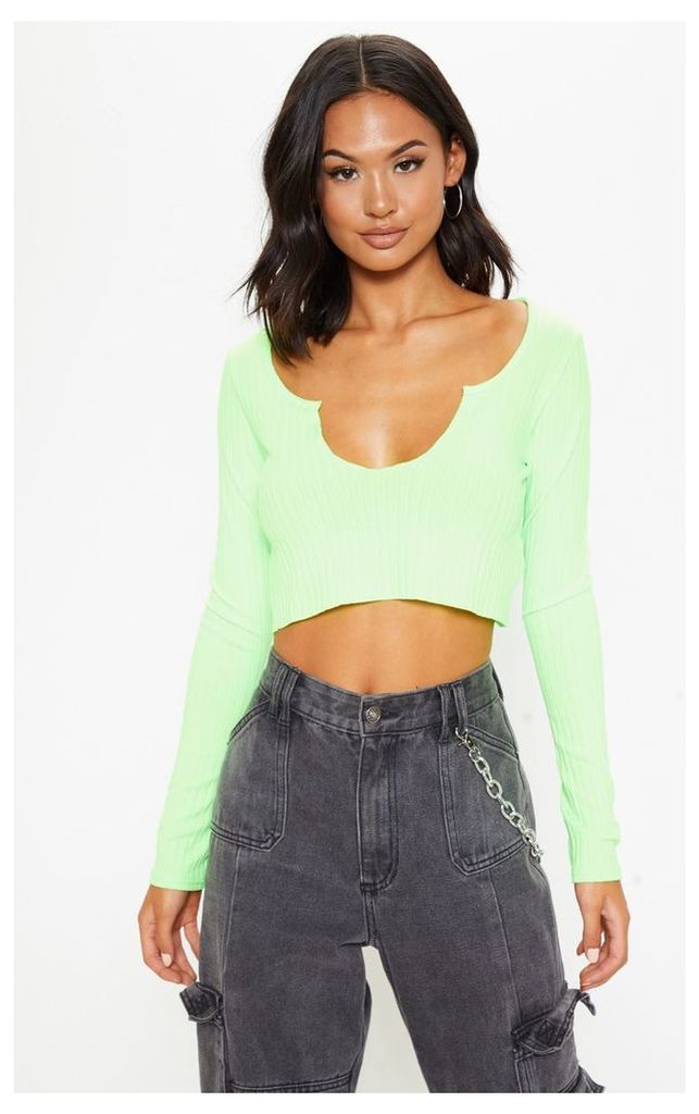Lime Long Sleeve Rib Raw V Crop Top, Green