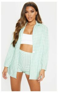 Mint Gingham Boyfriend Blazer, Green