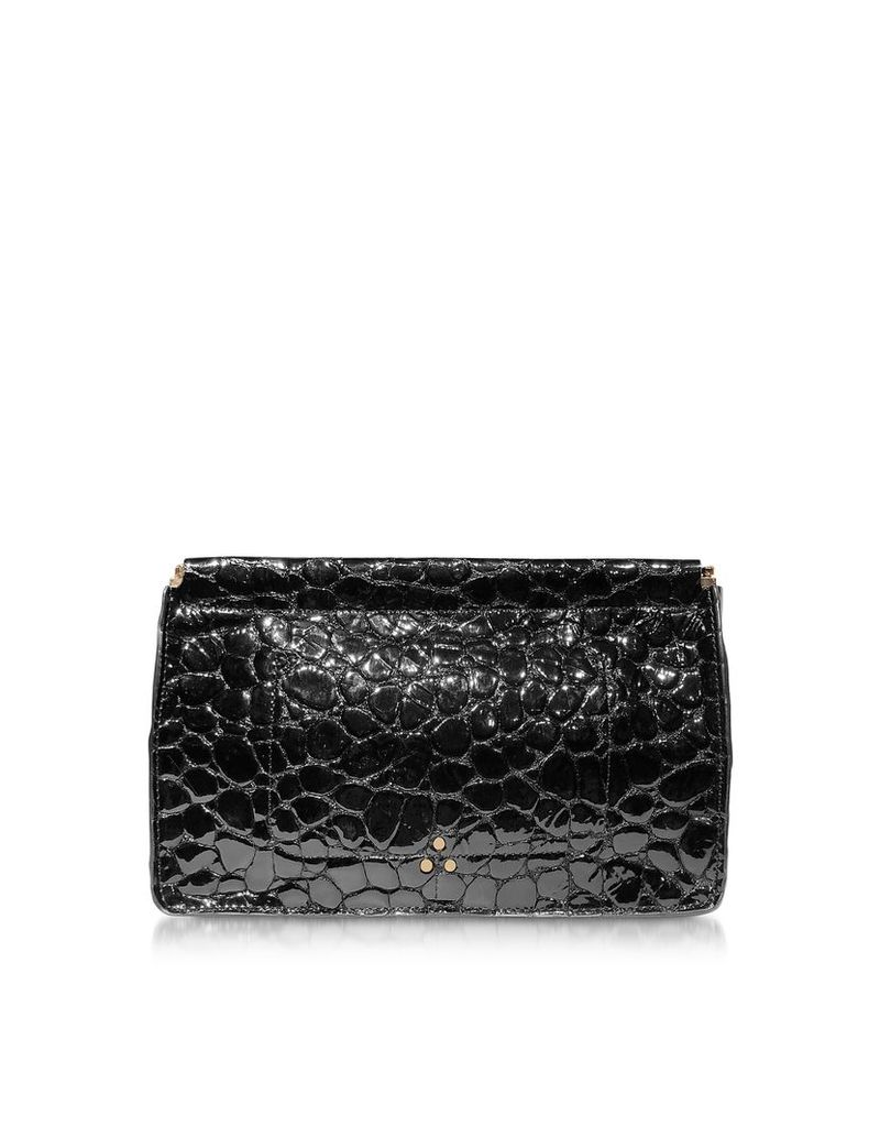 Jerome Dreyfuss Designer Handbags, Popoche Clic Clac Black Croco Embossed Patent Leather Clutch