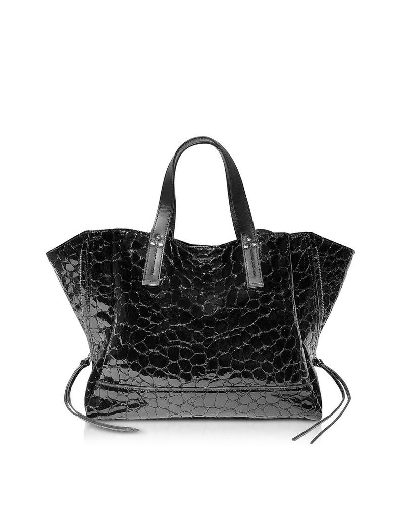 Jerome Dreyfuss Designer Handbags, Georges M Croco Embossed Patent Leather Tote Bag