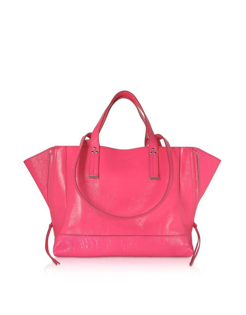 Jerome Dreyfuss Designer Handbags, Georges M Croco Fuchsia Glossy Leather Tote Bag