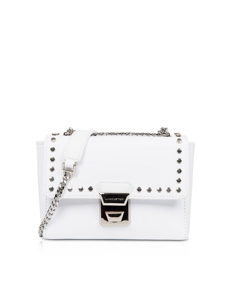 Lancaster Paris Designer Handbags, Gena Rock Studs White Crossbody Bag