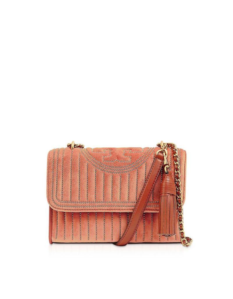 Tory Burch Designer Handbags, Fleming Mini Studs Velvet Small Convertible Shoulder Bag